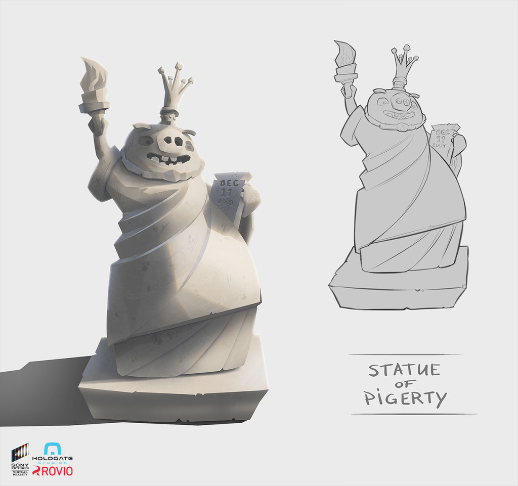 Hologate - Angry Birds VR - Statue of Pigerty - Peter Bartels