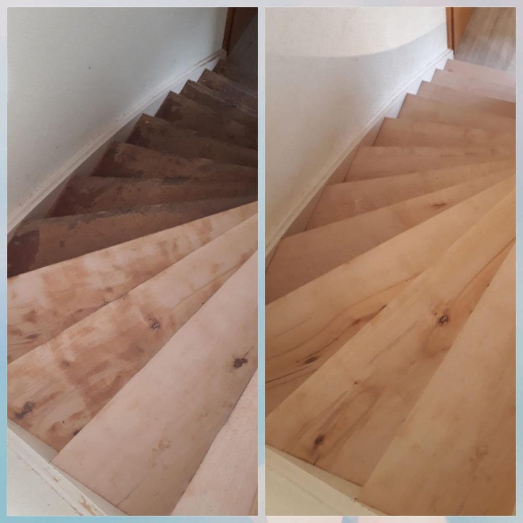 Treppe geschliffen vorher / nachher