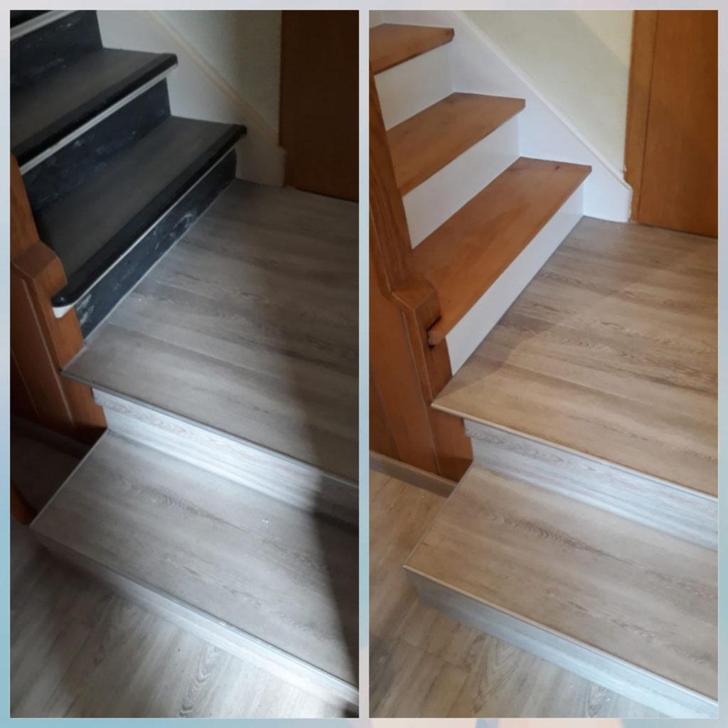 Treppe teilweise geschliffen und teilweise mit Designbelag verkleidet