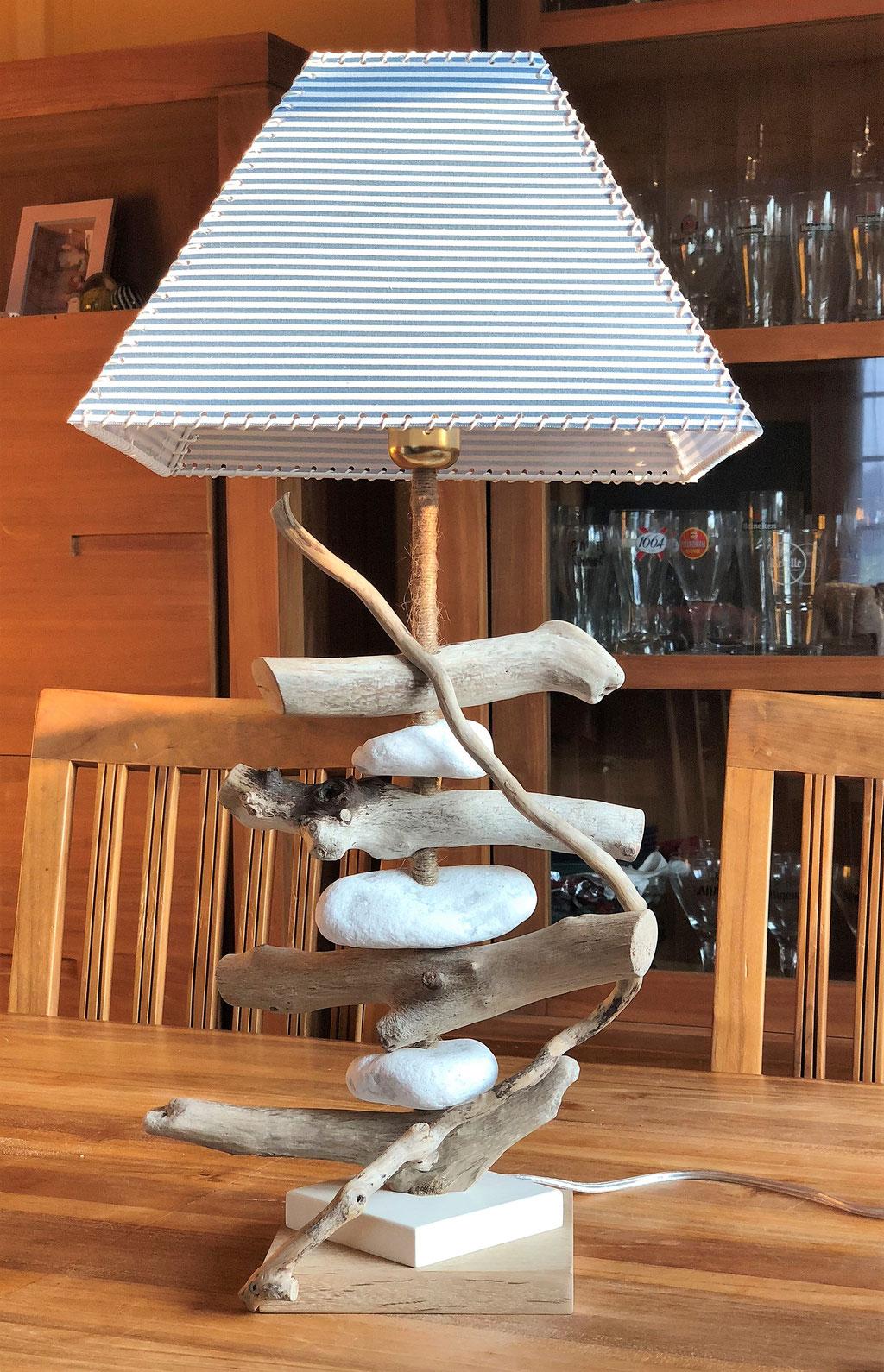 Lampe bois flotté Bord de Mer