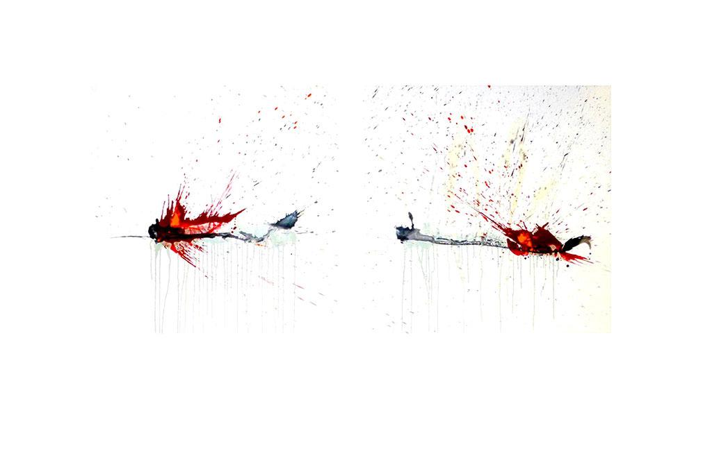 GETROFFEN  2-teilig  Mischtechnik auf Leinwand  2x98x98 cm  2014
