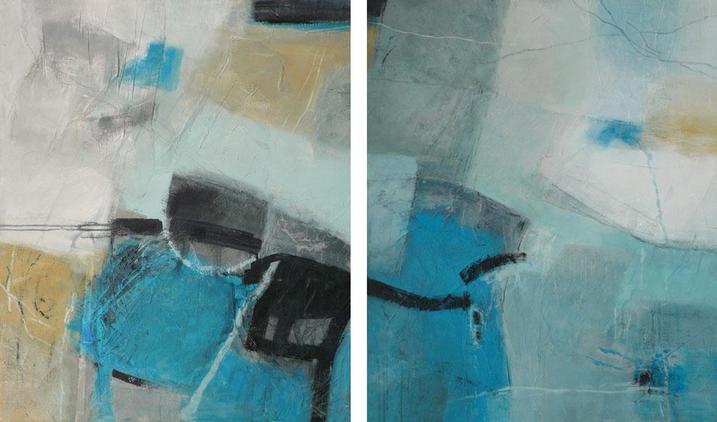 Spurensicherung, Diptychon, Collage/Acryl auf Leinwand, 200 x 120 cm