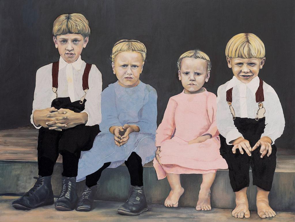 Nicht lachen! | 2018 | 110 x 145 cm | Öl/Textil auf Leinwand (verkauft)