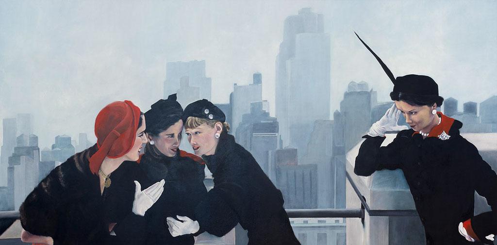 Die drei Freundinnen | 2017 | 90 x 180 cm | Öl auf Leinwand