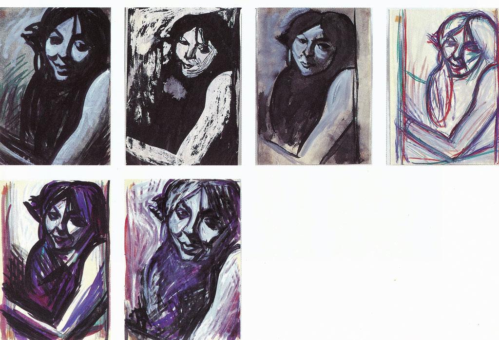 Marcelle, série sur papier 21x29,7, encre, collection particulière,  Belgique