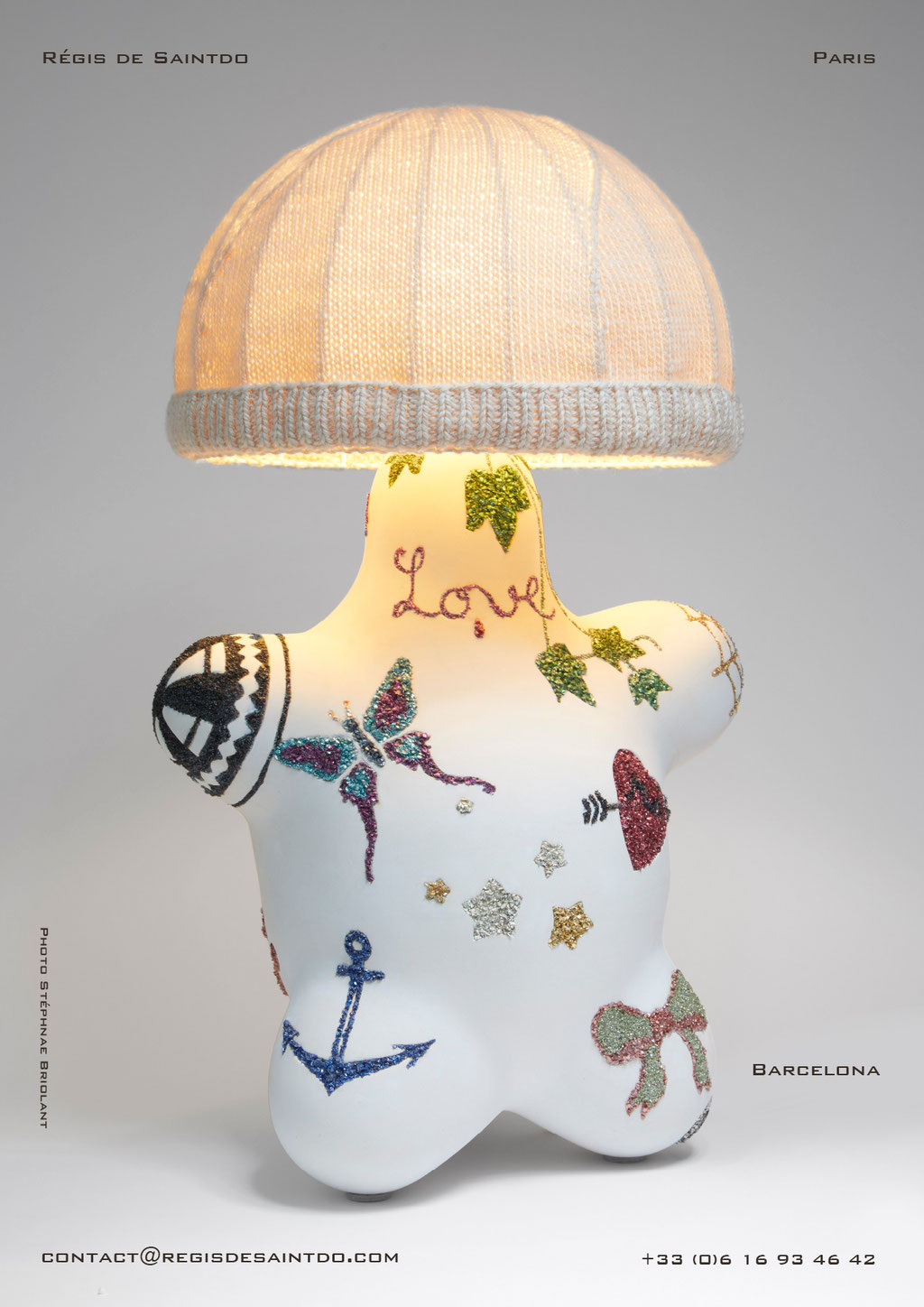 Lamp Barcelona - ceramic-tinted glass-wool beanie- hand made-one off