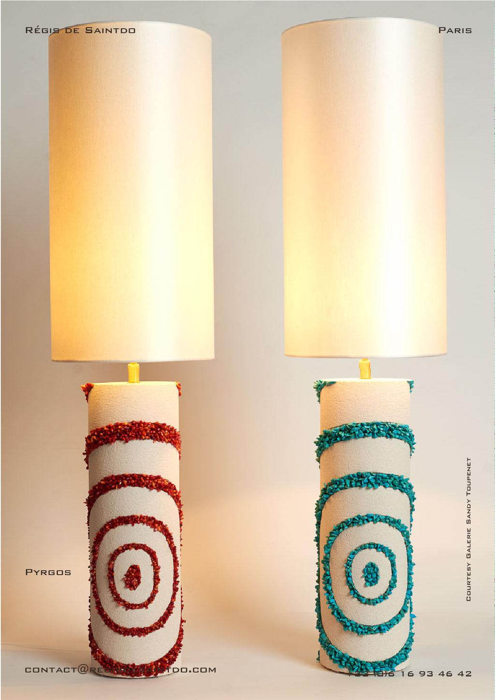 Lampes Pyrgos en céramique, howlite turquoises et corail- faites main