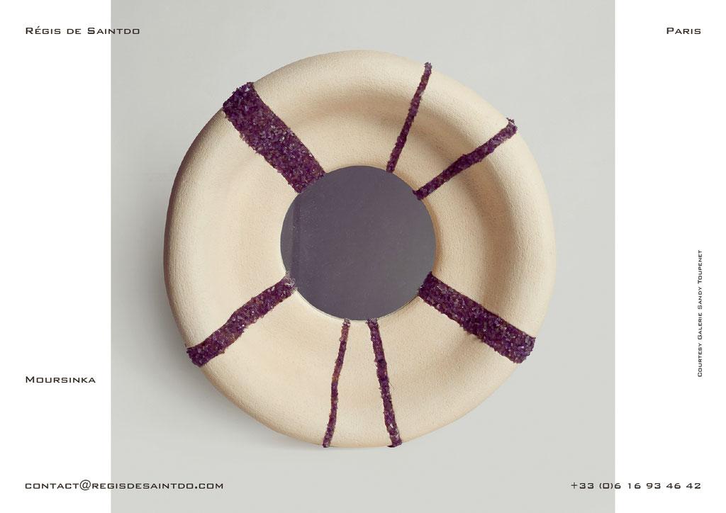 Miroir Moursinka en céramique et améthyste