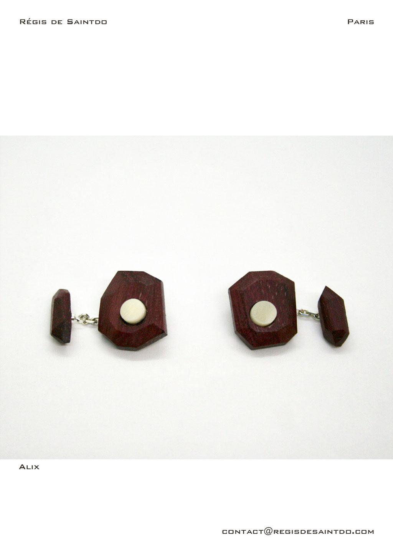 ©Régis de Saintdo-cufflinks-amaranth- bone-hand made