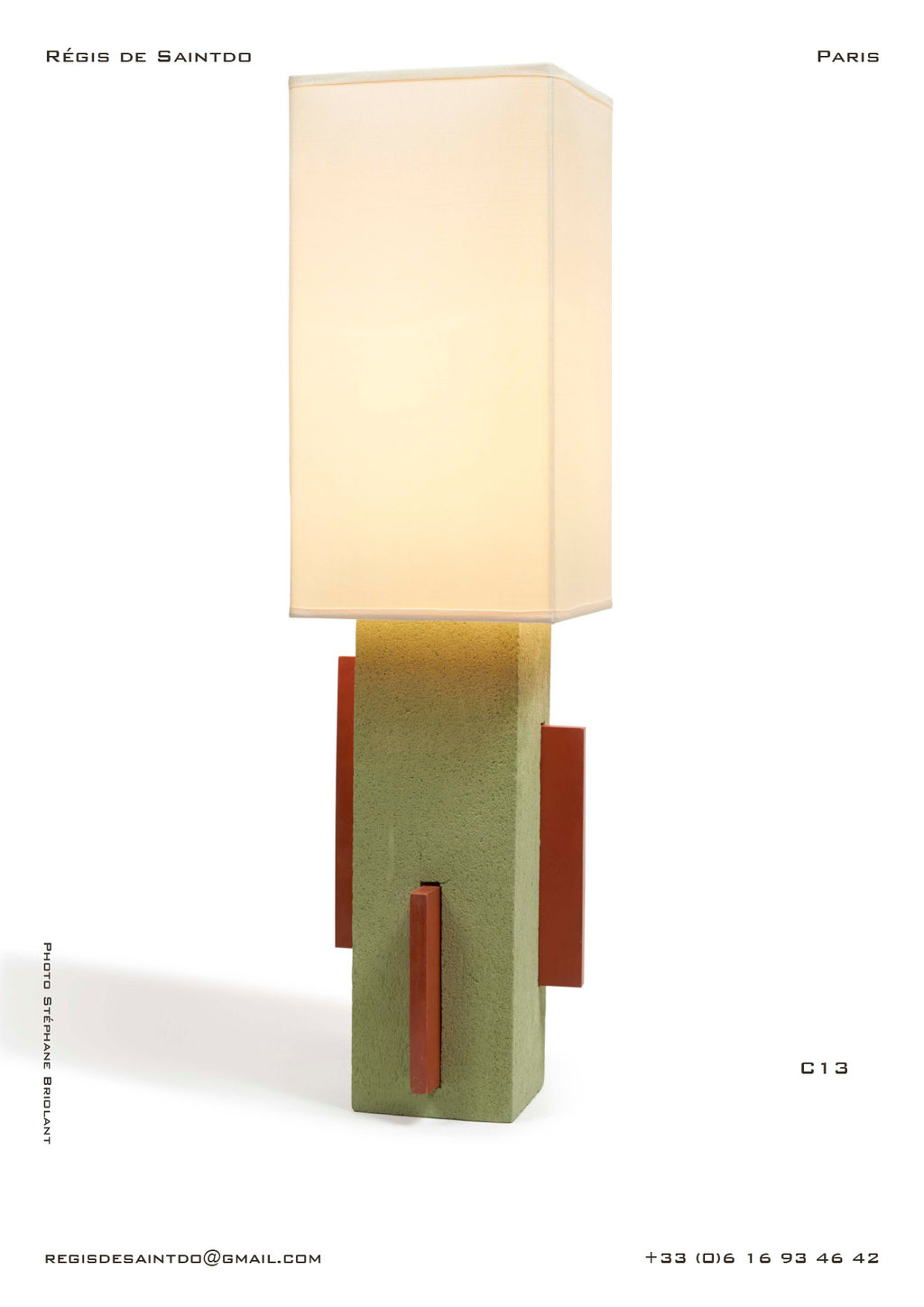 Lamp-C13-green-rough-red-polished-handmade-unique