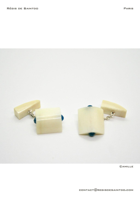 ©Régis de Saintdo-cufflinks-bone-agathe-hand made
