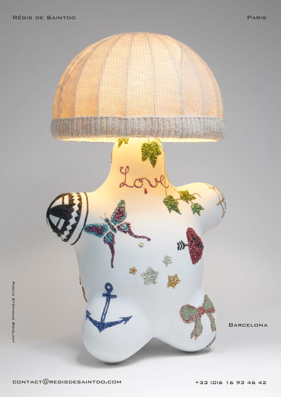 Lampe Barcelona - céramique et verre de couleur, abat-jour de laine - fait main-unique