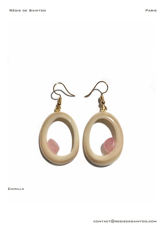 ©Régis de Saintdo-boucles d'oreilles-os-quartz rose-fait main