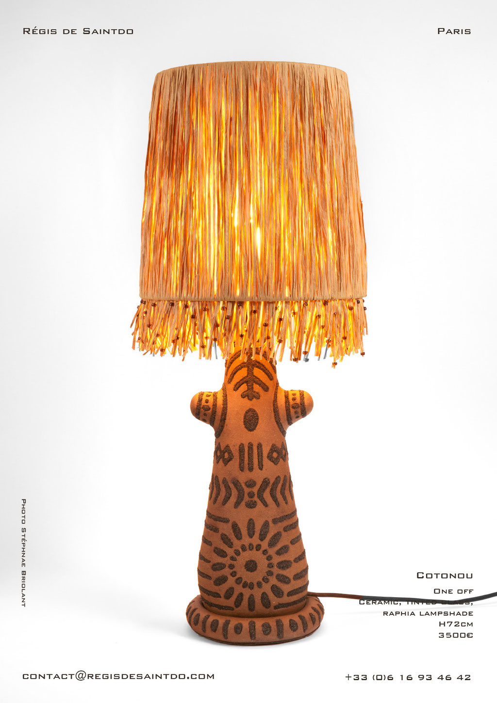 Lamp Cotonou - ceramic-tinted glass-raphia and glass beads lampshade- hand made-one off