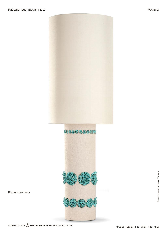 Lampe Portofino céramique blanche, howlites turquoise, faite main