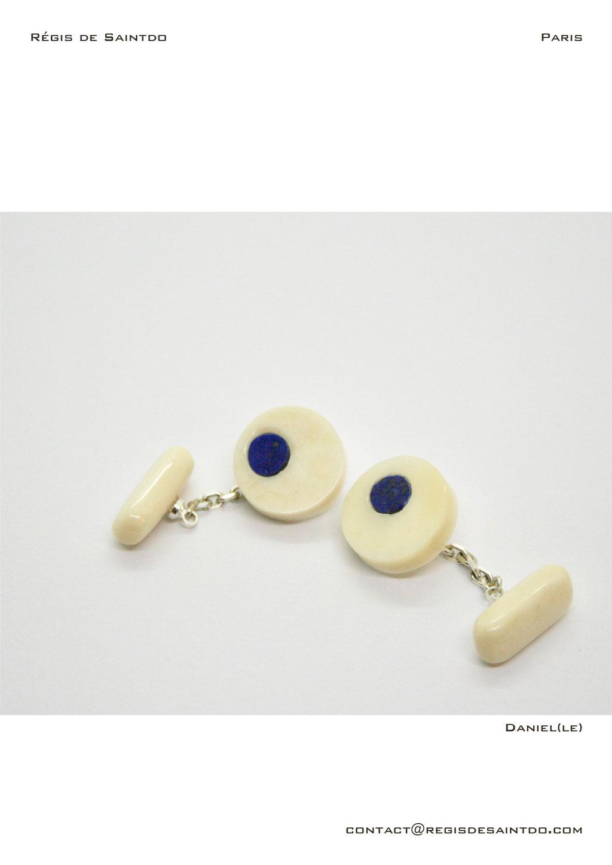 ©Régis de Saintdo-cufflinks-bone-lapis lazuli-hand made