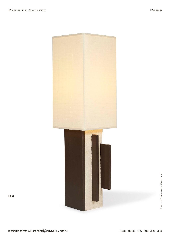 Lampe-C4-céramique-blanche-brute-brune-polie-faite-main-unique