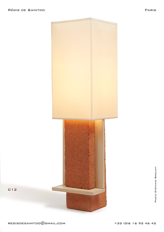 Lampe-C12-céramique-rouge-brute-blanche-polie-faite-main-unique