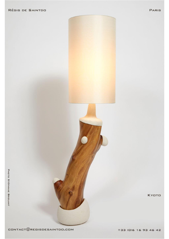 Lampe Kyoto bois de cerisier et céramique - faite main-unique