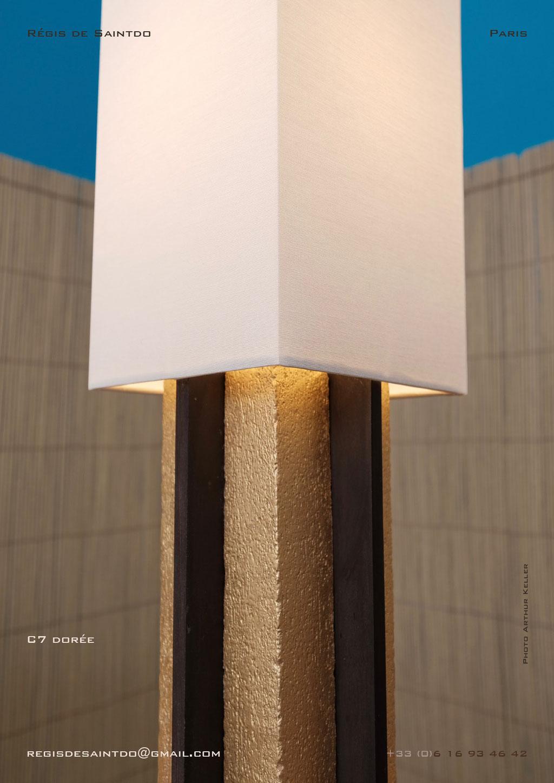 Lampe-C7-céramique-or-brute-brune-polie-faite-main-unique