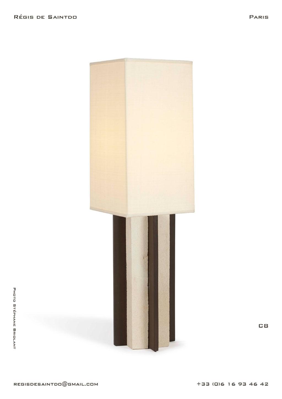 Lampe-C8-céramique-blanche-brute-brune-polie-faite-main-unique