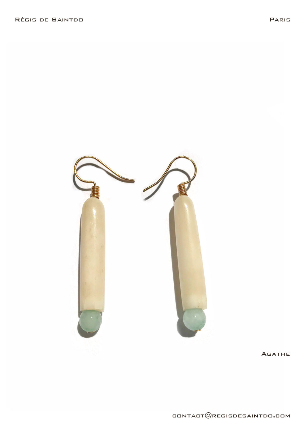 ©Régis de Saintdo-earings-bone-agate-hand made