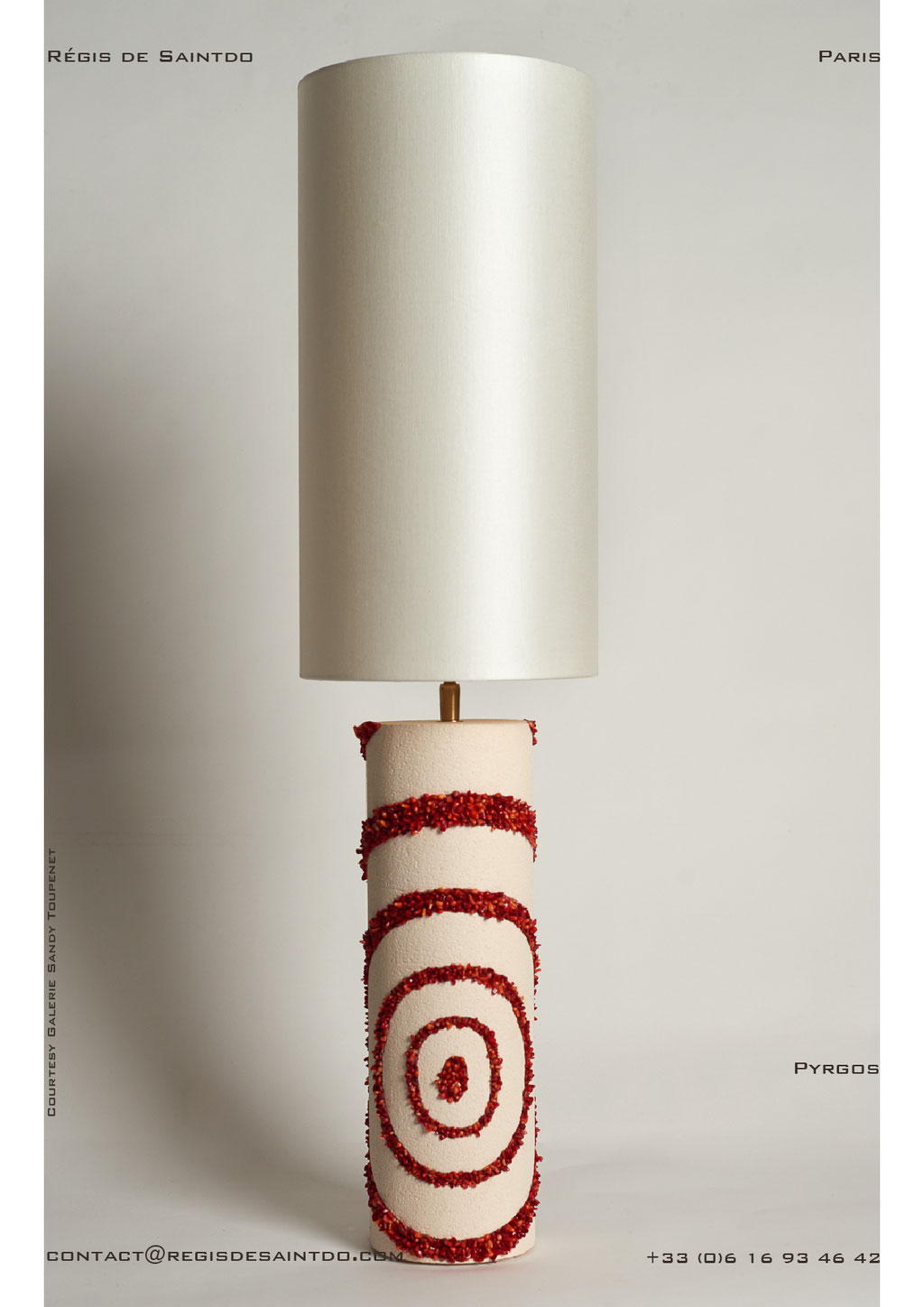 Lamps Pyrgos ceramic, coral- hand made