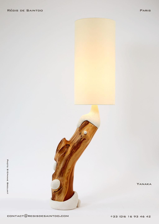 Lampe Yanaka bois de cerisier et céramique - faite main-unique