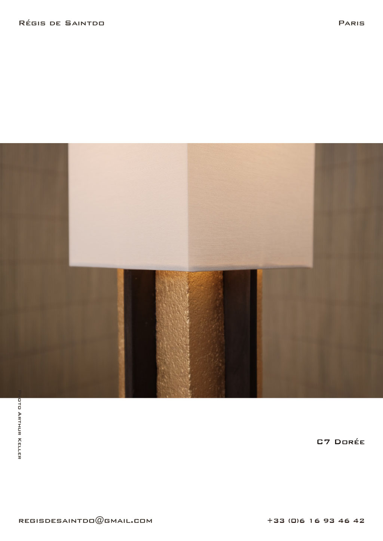 Lampe-C7-céramique-or-brute-brune-polie-faite-main-unique-détail