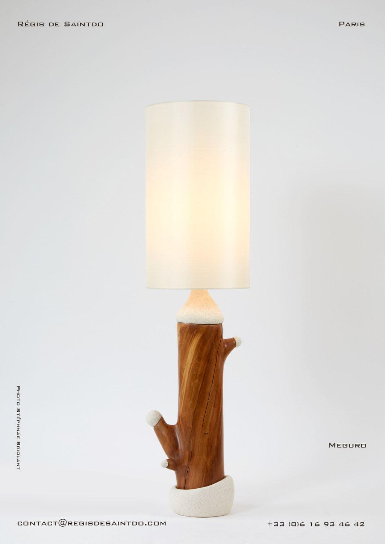 Lamp Meguro cherish tree & ceramic, hand made-one off
