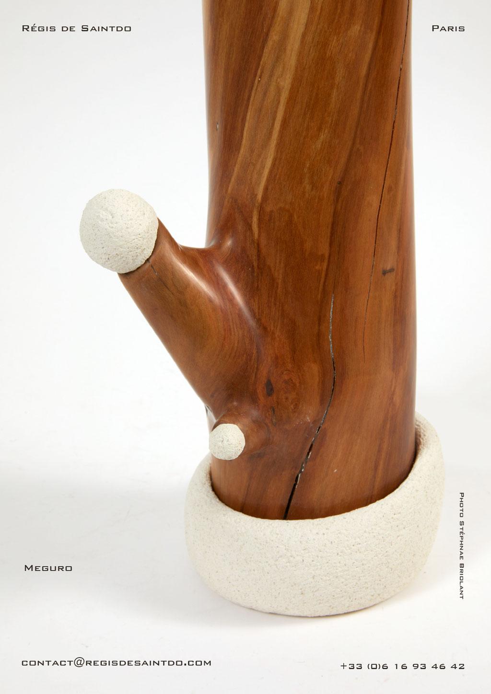 Lampe Meguro bois de cerisier et céramique - faite main-unique