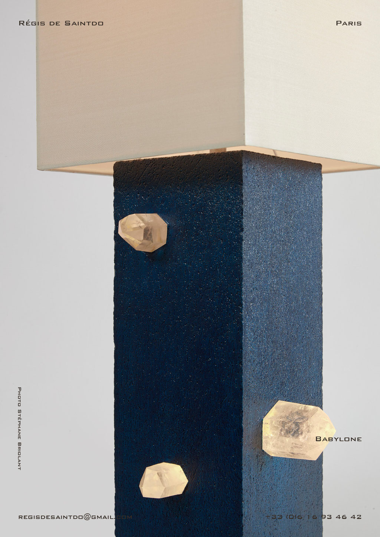 Lampe-Babylone-céramique-bleue-brute-cristaux-faite-main-unique-détail