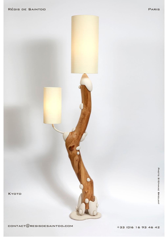 Lampadaire Kyoto bois de cerisier et céramique - faite main-unique