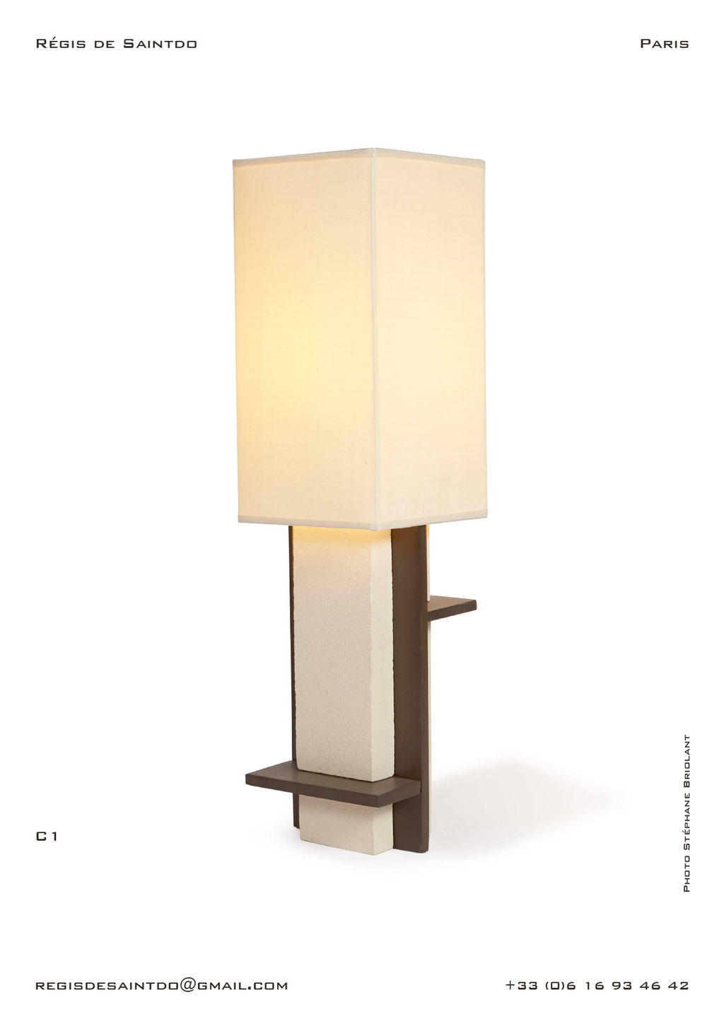Lamp-C1-white-rough-brown-polished-handmade-unique