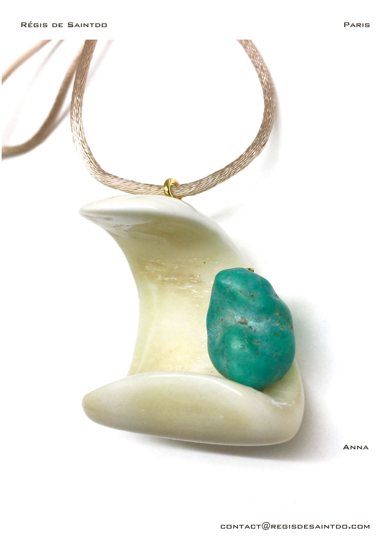 ©Régis de Saintdo-pendant-bone-turquoise-hand made