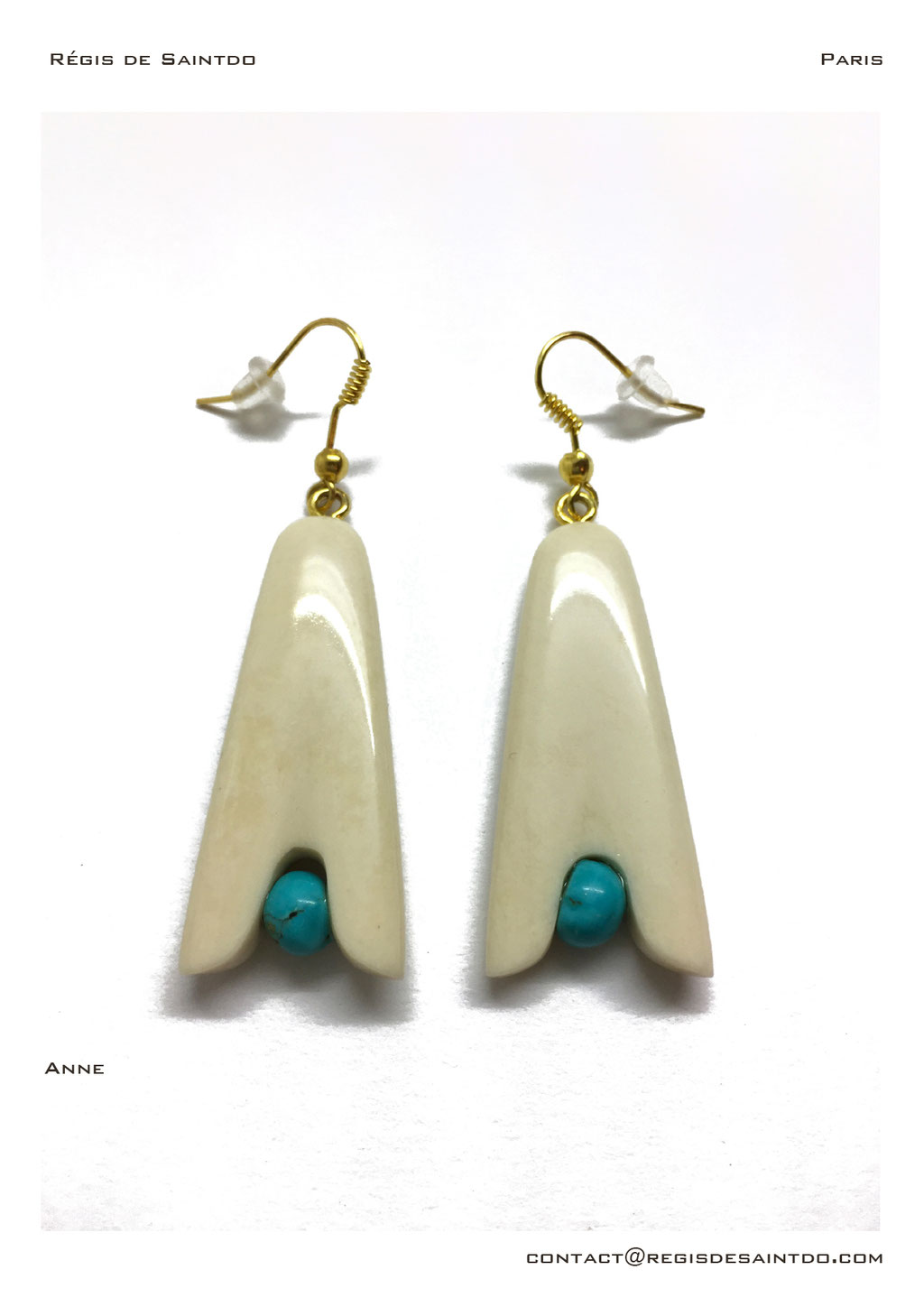 ©Régis de Saintdo-earings-bone-turquoise-hand made