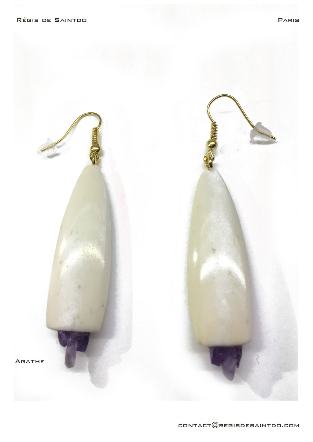 ©Régis de Saintdo-earings-bone-amethyst-hand made
