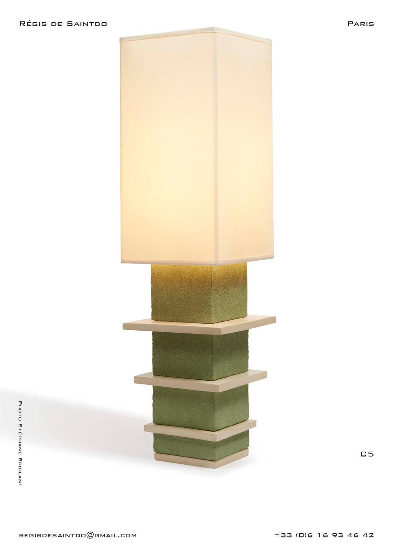 Lampe-C5-céramique-verte-brute-blanche-polie-faite-main-unique