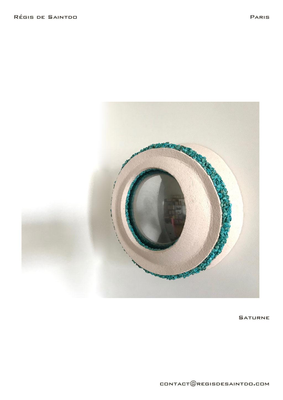 Mirror Saturne, ceramic, turquoise howlite-handmade