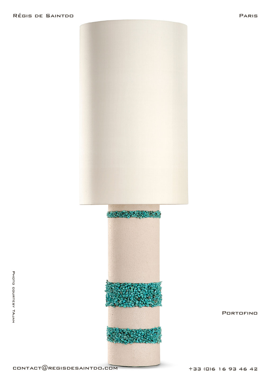 Large Lamp Ibiza ceramic turquoise howlites -hand made