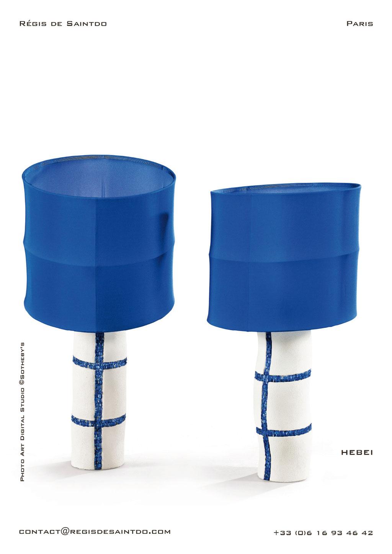 Lamp Hebei ceramic, lapis lazuli, hand made