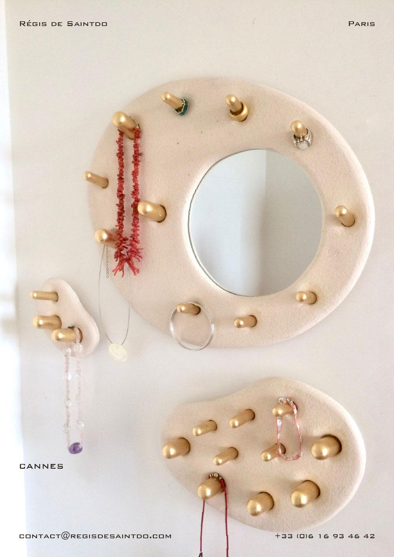 Miroir Cannes en céramique et bois doré-fait main