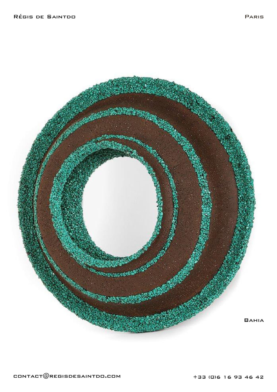 Miroir Bahia en céramique et howlites vertes - fait main