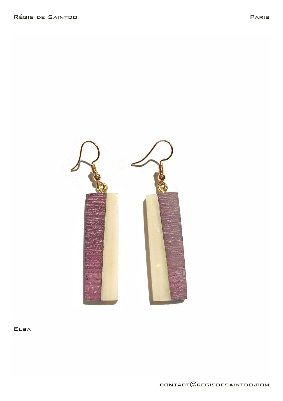 ©Régis de Saintdo-earings-bone-amaranthe wood-hand made