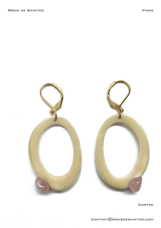 ©Régis de Saintdo-boucle d'oreille-os-quartz rose-fait main