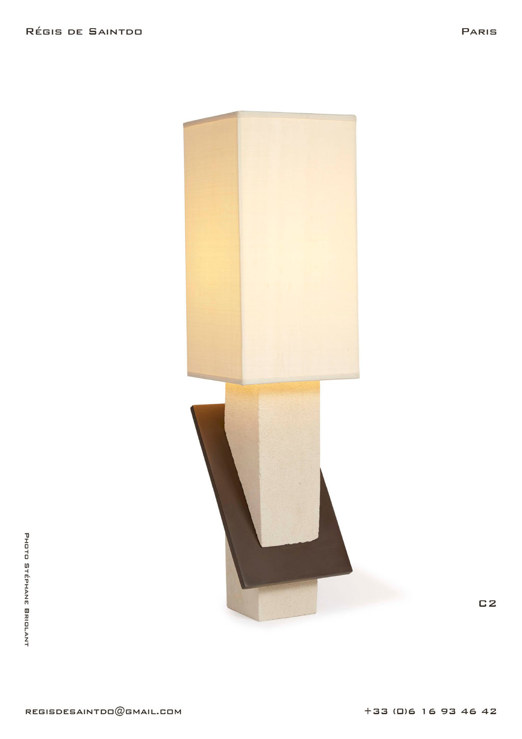 Lamp-C2-white-rough-brown-polished-handmade-unique