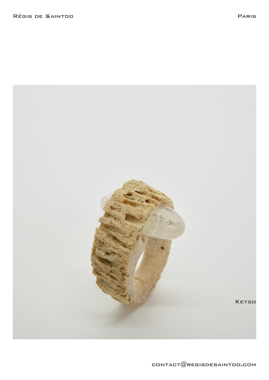 ©Régis de Saintdo-Bague-os cornillon-cristal de roche-fait main