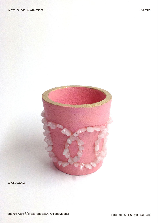 Pot-Caracas-Céramique colorée-Quartz rose-feuille d'or-fait main