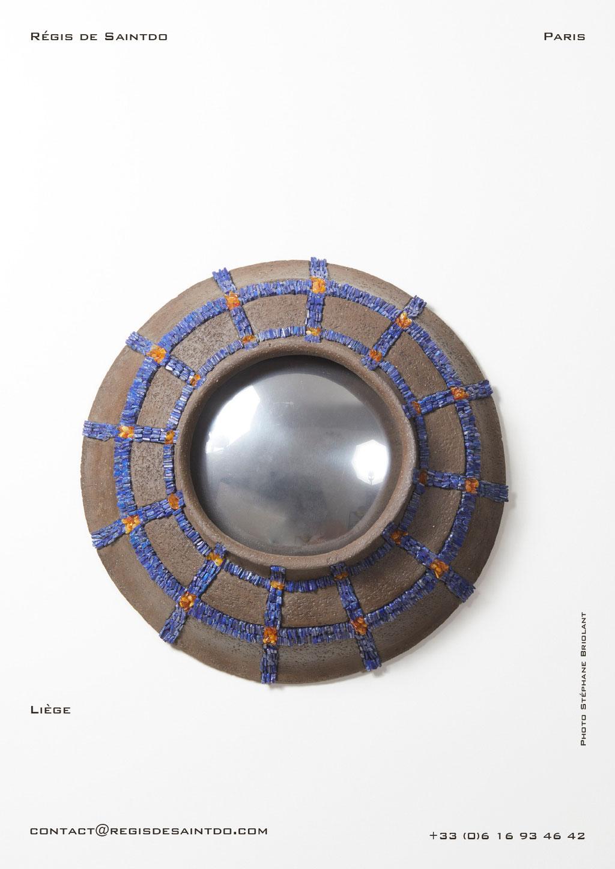 Miroir Liège en céramique, lapis lazuli et ambre - fait main