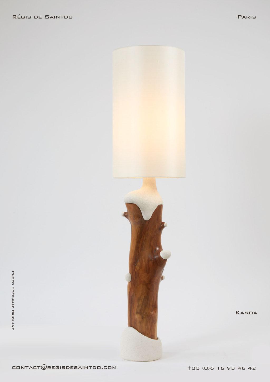 Lampe Kanda bois de cerisier et céramique - faite main-unique